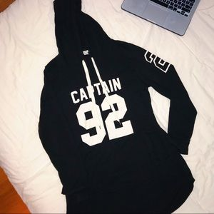 large black oversized college print hoodie/dress